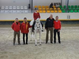 Luis Lucio ETT, Francesc Corbi EF, Alex Gordillo EPS,  la amazona representante de la FFAA Murcia María Gomariz y su entrenador Francisco Ríos.