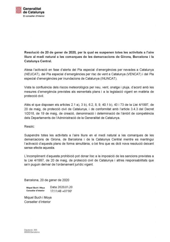 Resolucion suspension actividades